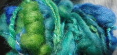 Sloppy coils two ply Wool and Silk hand dyed Funky Selky