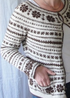 Fairisle cardigan handspun 2ply norfolk horn, silk and alpaca