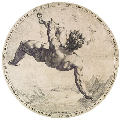 Hendrick Goltzius:Phaethon from the Four Disgracers series