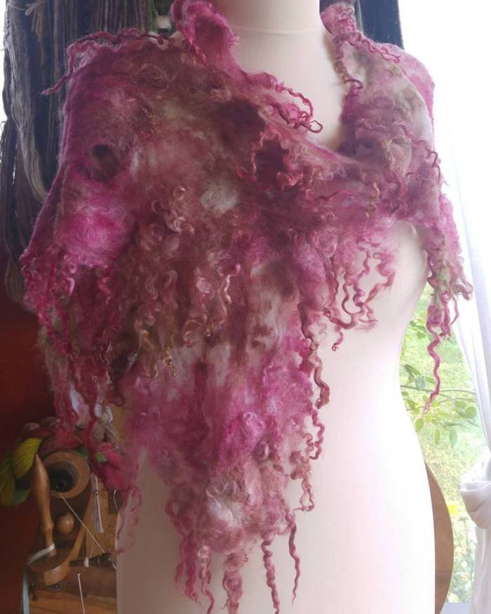 shredded cobweb felt scarf made with unsound fleece, silk and wensleydale locks